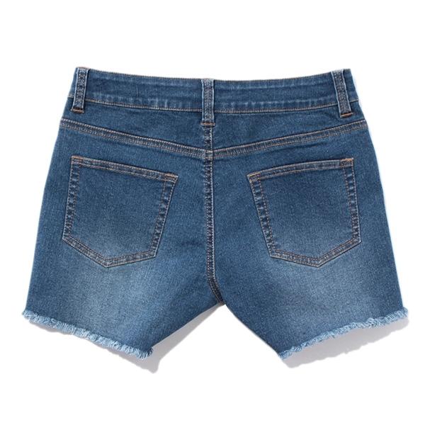 のびるっちデニム裾フリンジショートパンツ 商品画像 (0)