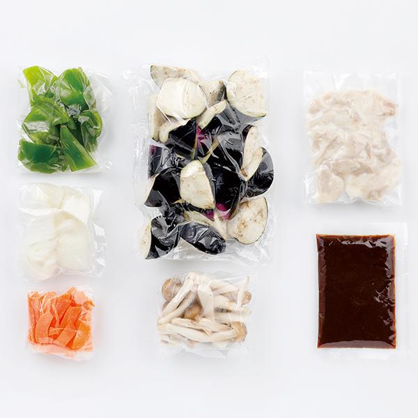 CooKit 4種の野菜ときのこが入った なすと豚肉の甘味噌炒め まるごと献立キット クッキット 商品画像 (1)
