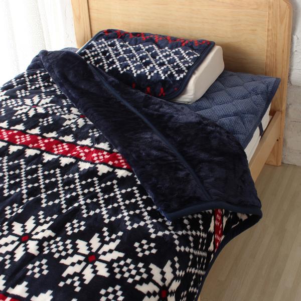 HOME COORDY 毛布【ノルディ】ネイビー