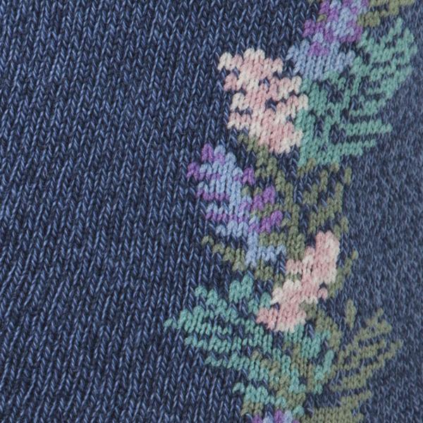 レッグアクセサリー ライン花柄クルーソックス 商品画像 (1)
