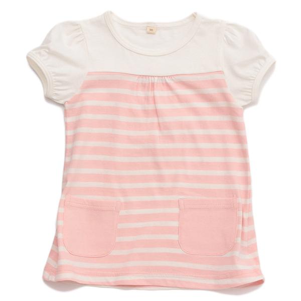 オーガニックコットンボーダー胸切替半袖Tシャツ