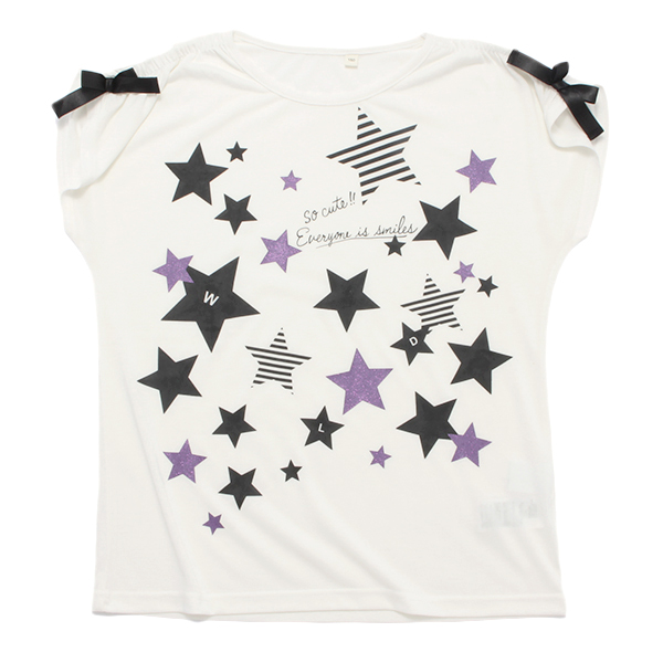 くーるっち星柄肩ギャザーシャツ