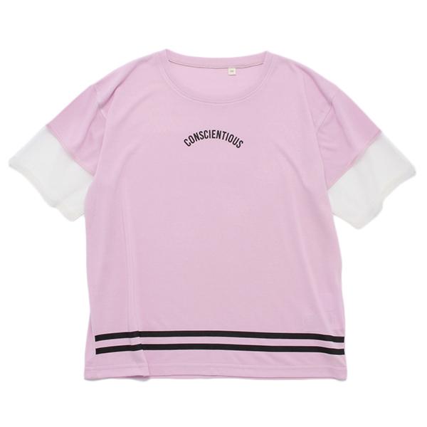 くーるっち袖チュール裾ラインTシャツ