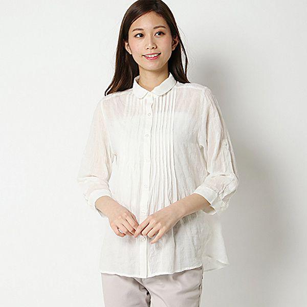オーガニックコットン 夏サラ綿PU7分袖ロールアップピンタックシャツ