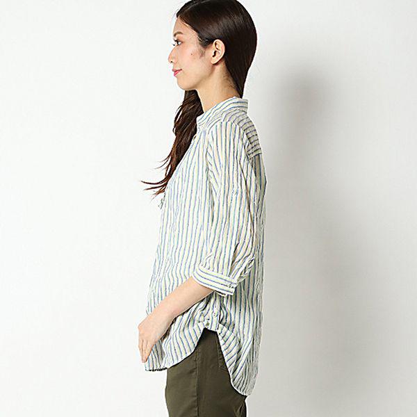 オーガニックコットン 夏サラ綿PU裾ロールアップスキッパーシャツ 商品画像 (0)