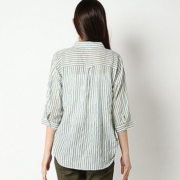 オーガニックコットン 夏サラ綿PU裾ロールアップスキッパーシャツ 商品画像 (1)