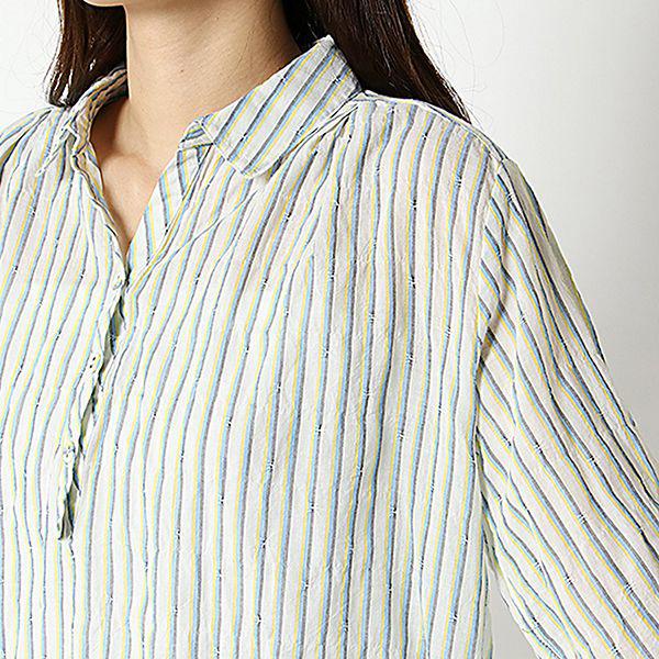 オーガニックコットン 夏サラ綿PU裾ロールアップスキッパーシャツ 商品画像 (2)