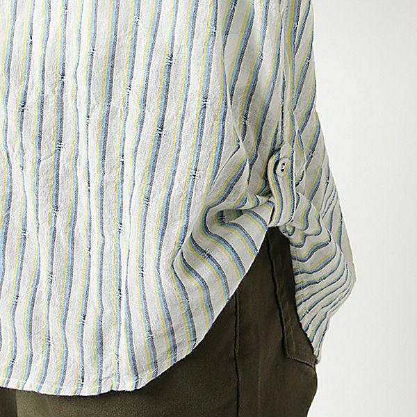 オーガニックコットン 夏サラ綿PU裾ロールアップスキッパーシャツ 商品画像 (3)