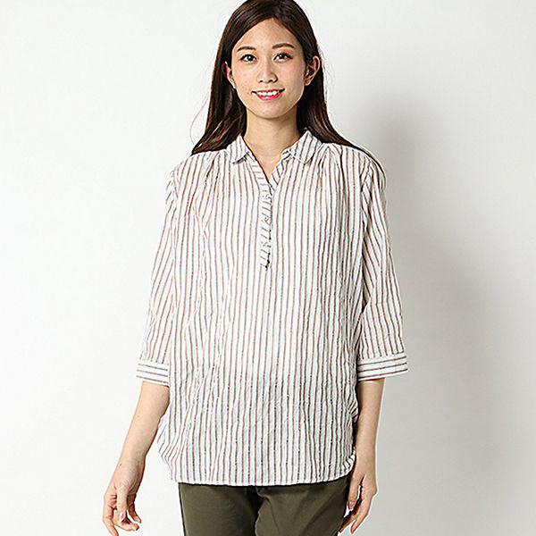 オーガニックコットン 夏サラ綿PU裾ロールアップスキッパーシャツ