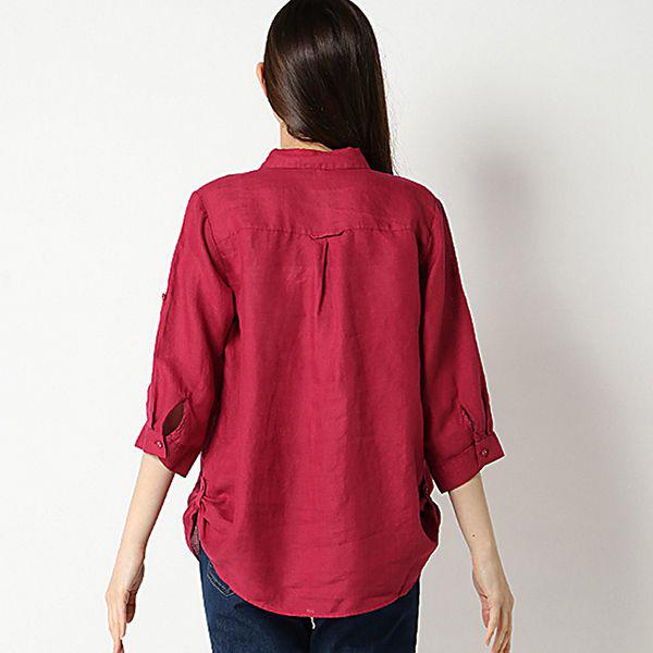 麻100%裾ターンバックスキッパーシャツ 商品画像 (1)