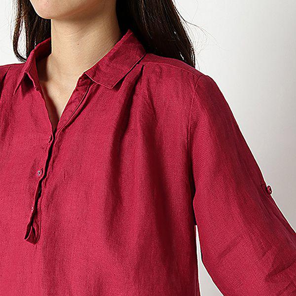 麻100%裾ターンバックスキッパーシャツ 商品画像 (2)