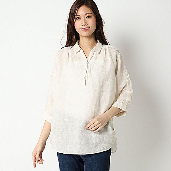 麻100%裾ターンバックスキッパーシャツ