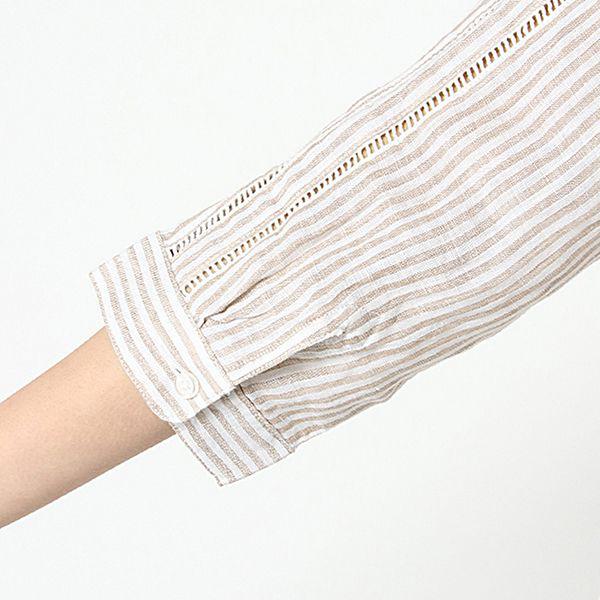 麻100%7分袖脇リボンスタンドチュニック 商品画像 (3)