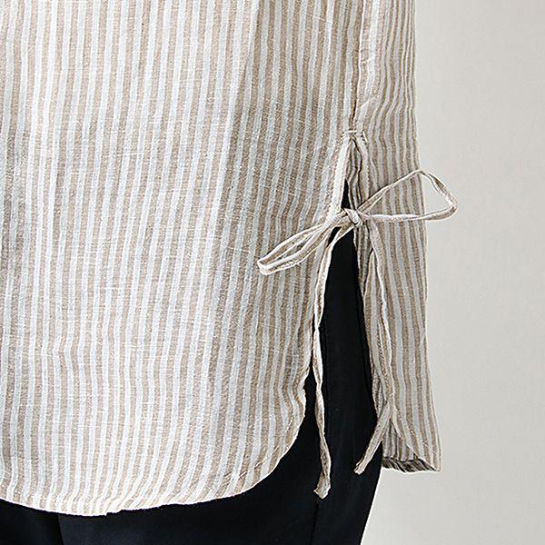 麻100%7分袖脇リボンスタンドチュニック 商品画像 (4)