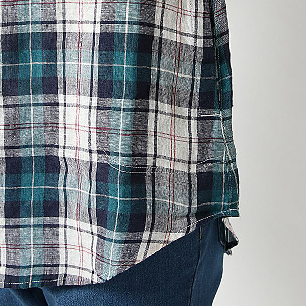 麻100%7分袖ロールアップチュニック 商品画像 (3)
