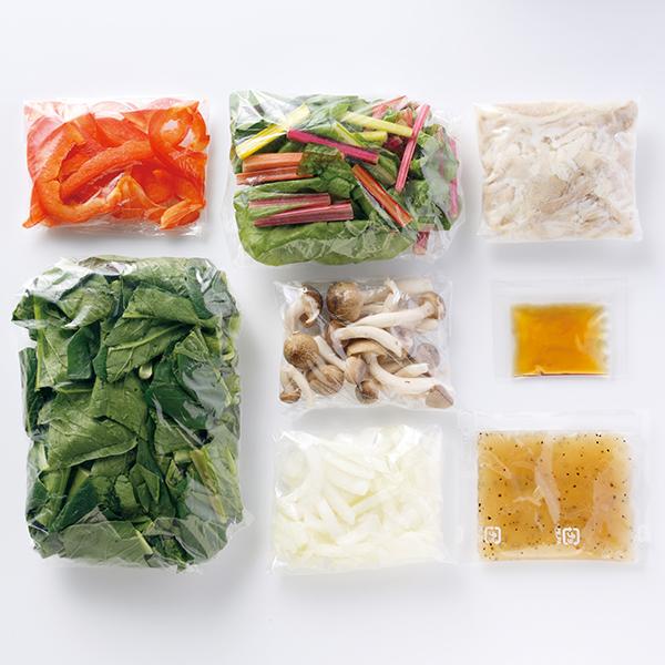 CooKit ごま油で仕上げるスイスチャードと豚肉の塩炒め まるごと献立キット クッキット 商品画像 (1)