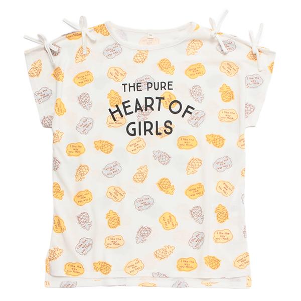 くーるっち 肩リボン総柄Tシャツ