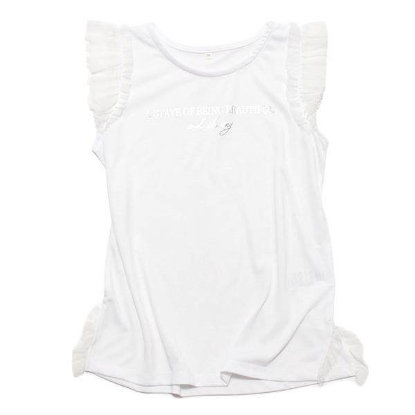 くーるっち 袖チュールフリルTシャツ