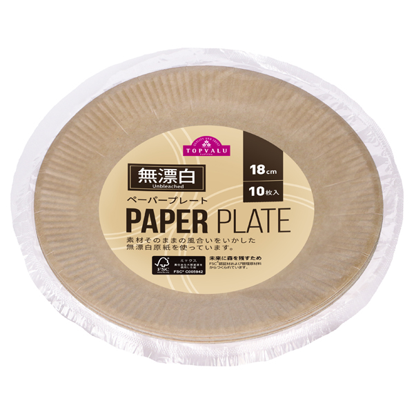 Unbleached PAPER PLATE 無漂白 ペーパープレート 18cm