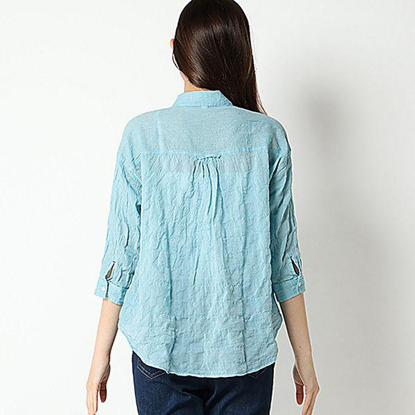 オーガニックコットン 綿ポリウレタンゆるシャツ 商品画像 (1)