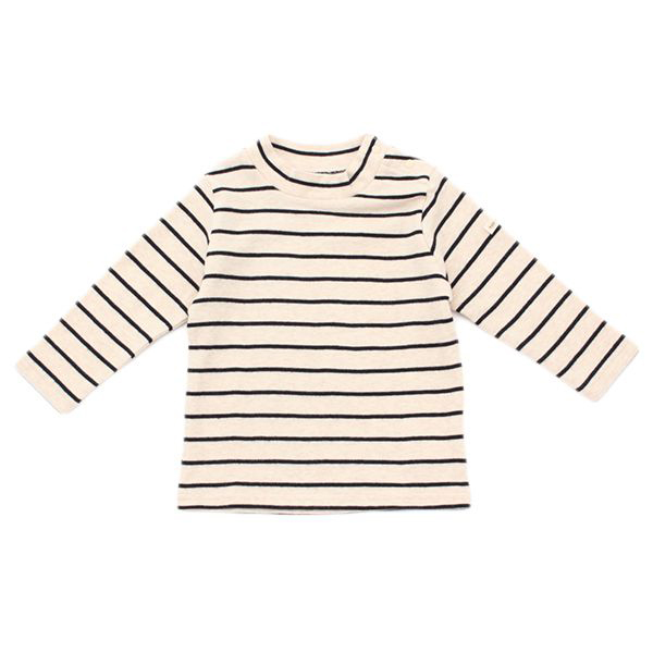 オーガニックコットン ボーダーハイネックTシャツ