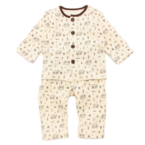 オーガニックコットンブレンド キルト編み 長袖前開きパジャマ