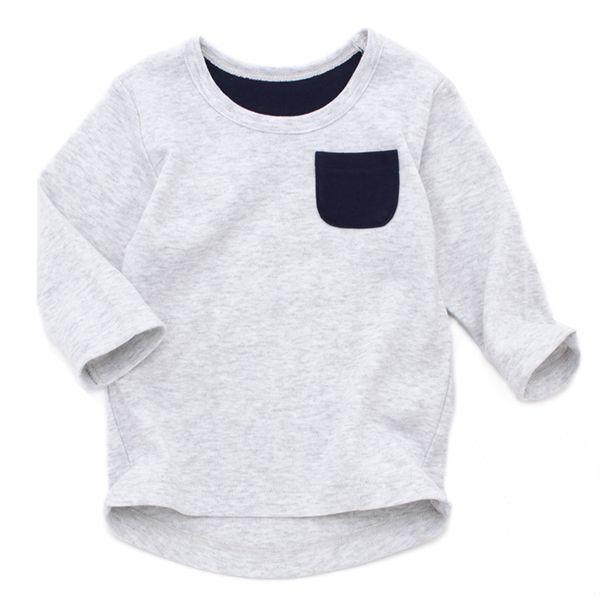 オーガニックコットン スムース編み ポケット付長袖Tシャツ【2枚よりどり1280円(本体価格)】