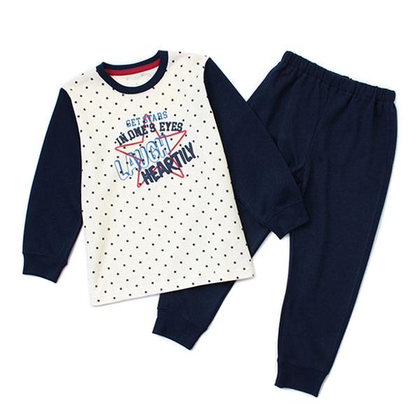 裏綿オーガニックTスーツパジャマ 星ロゴ柄