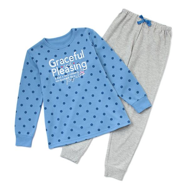 裏綿オーガニックTスーツパジャマ ドットロゴ柄