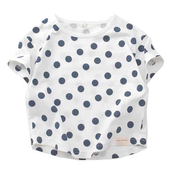 オーガニックコットン ドット総柄半袖Tシャツ
