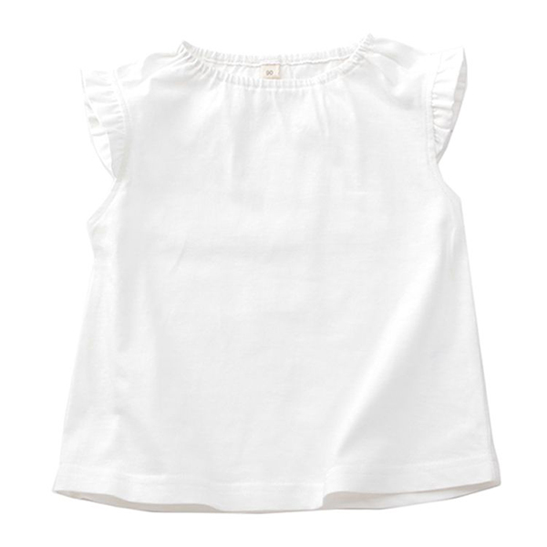 オーガニックコットン 肩フリルTシャツ