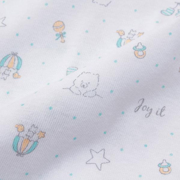 オーガニックコットンブレンド フライス編み 半袖前開きボディースーツ2枚組 商品画像 (1)