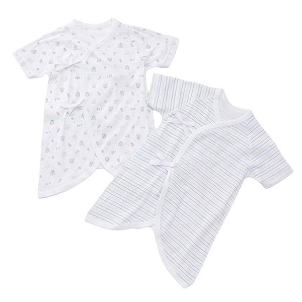 オーガニックコットンブレンド フライス編み コンビ肌着2枚組 商品画像 (メイン)