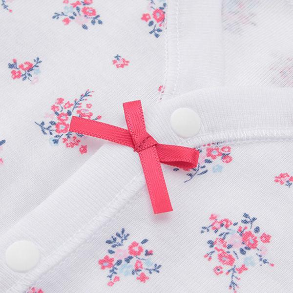 オーガニックコットンブレンド フライス編み 半袖前開きボディスーツ 2枚よりどり本体価格1580円 商品画像 (1)