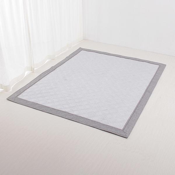 接触冷感 キルトフロアラグ (ダイヤキルト) 185×185cm(約2畳相当) HOME COORDY