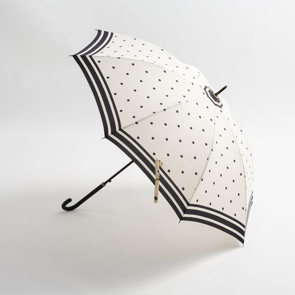 婦人長傘水玉裾ボーダー