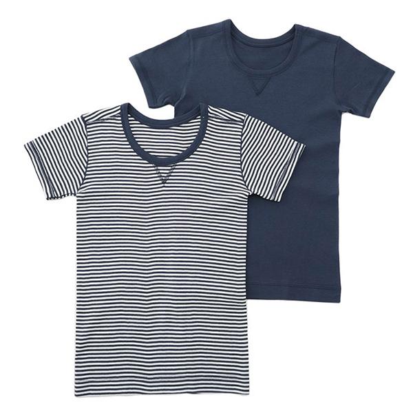男児トドラーオーガニック綿100% 半袖2枚組