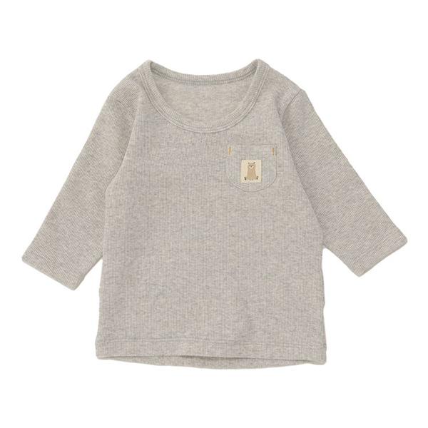 オーガニックコットンブレンド リブストレッチ長袖丸首シャツ 2枚よりどり本体価格1280円