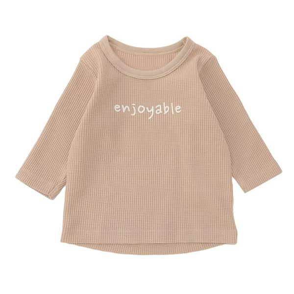 オーガニックコットンブレンド ワッフル編み長袖丸首シャツ 2枚よりどり本体価格1280円