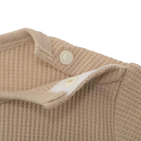 オーガニックコットンブレンド ワッフル編み長袖ショルダークロスボディスーツ 2枚よりどり本体価格1580円 商品画像 (2)