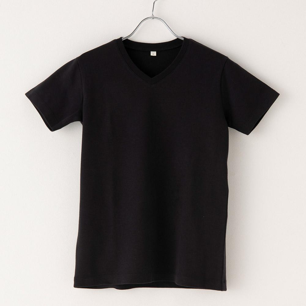 オーガニックコットン Tシャツ Vネック 半袖 なめらかコットンスムース