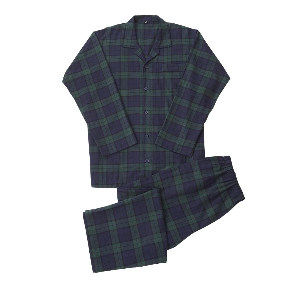 綿100% ネルシャツパジャマ(前綴じ)