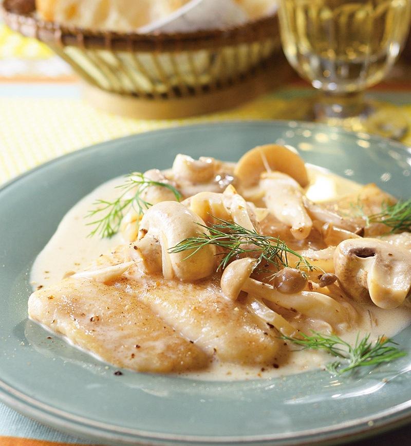 パンガシウスときのこのさっぱりクリームソース煮 レシピ画像