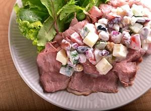 お豆とチーズのビーフサラダ☆ヨーグルトソース☆