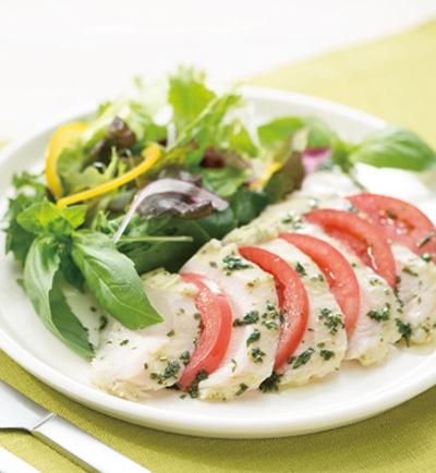 純輝鶏サラダチキンとトマトのカプレーゼ風サラダ レシピ画像