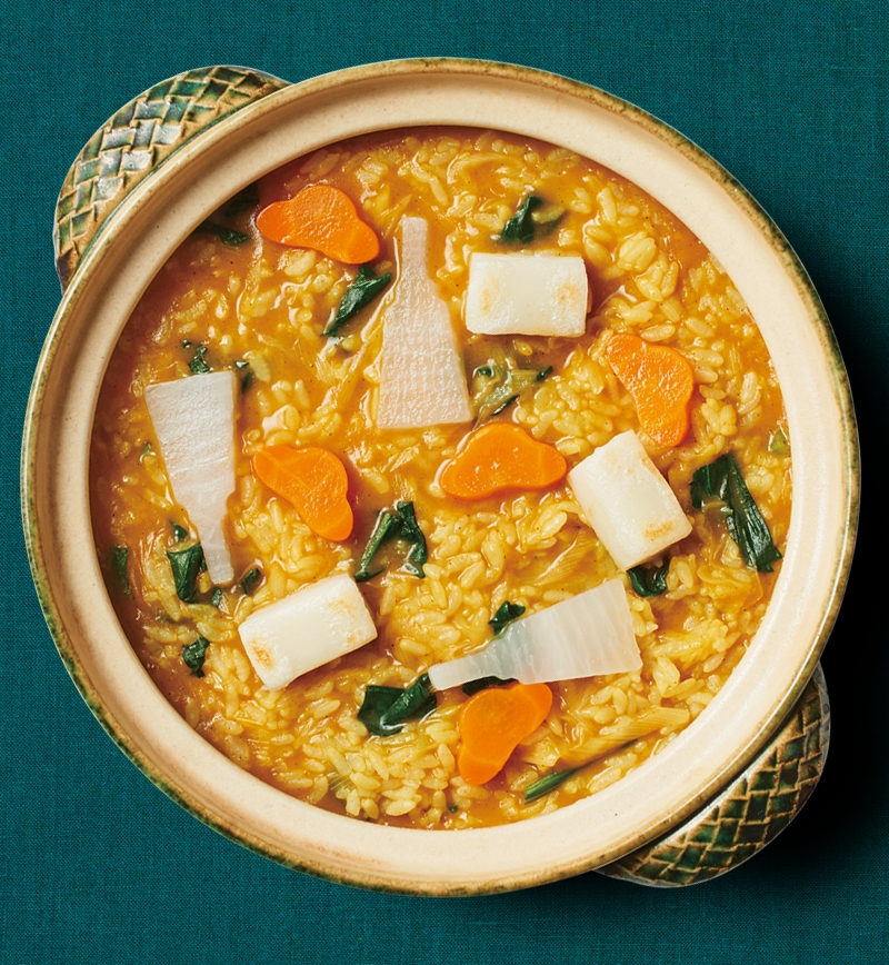 七草を入れた印度風カレー粥 レシピ画像