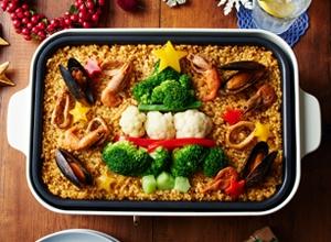 第3位 ホットプレートでつくる クリスマスパエリア レシピ画像