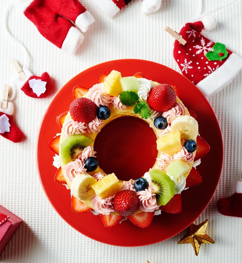クリスマスリースケーキ レシピ画像