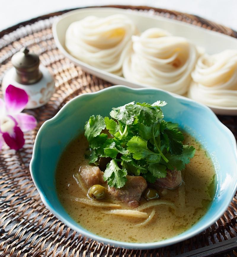 グリーンカレーつけ麺 レシピ画像
