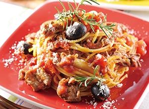 ビーフとオリーブのトマトパスタ レシピ画像